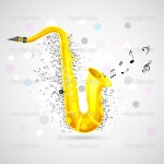 easy to edit vector illustration of music notes coming out of saxophone
