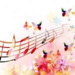 Note musicali con fiori e farfalle